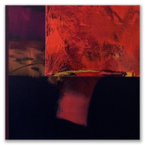 """Red and Black: cold wax and acrylic on panel, 10"""" x 10"""""""