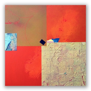 """Remember Agnes: mixed media on canvas, 14"""" x 14"""""""