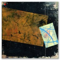 """Passing Pluto: oil paint and cold wax on panel, 9""""x 9"""""""